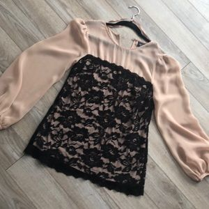 Black and Tan lace Nicole Miller shirt
